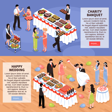 Set of two horizontal banners with isometric party people board images and editable text with buttons vector illustration