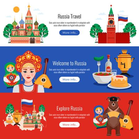 Rusia viajes símbolos tradiciones hitos 3 banners web planas horizontales con cocina kremlin vodka ilustración vectorial