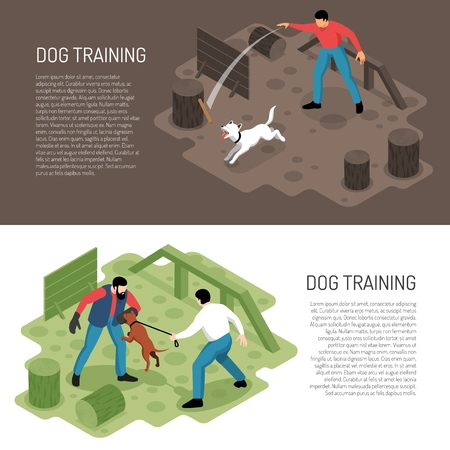 Cynologist dog training 2 isometric horizontal banners with park playground specific tasks learning activities ddescription vector illustration