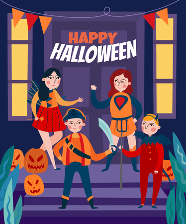 Halloween kids composition of four flat human characters on stage with pumpkins and editable text vector illustration