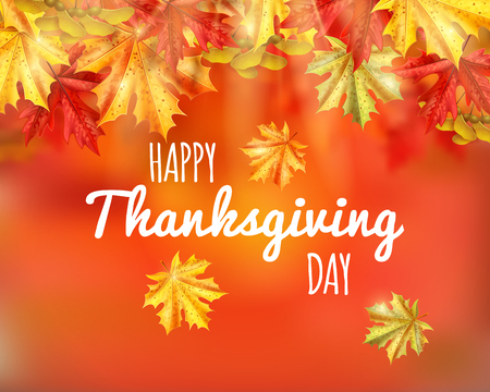 Thanksgiving day poster or card with happy thanksgiving day headline on orange autumn background vector illustration