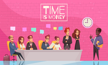 Time is money poster with team of creative business people listening to their boss speech flat vector illustration