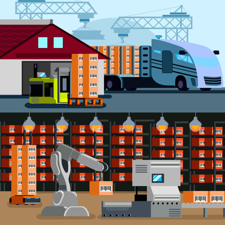 Automated warehouse inside and outside flat compositions with truck and store room robots isolated vector illustration Illustration