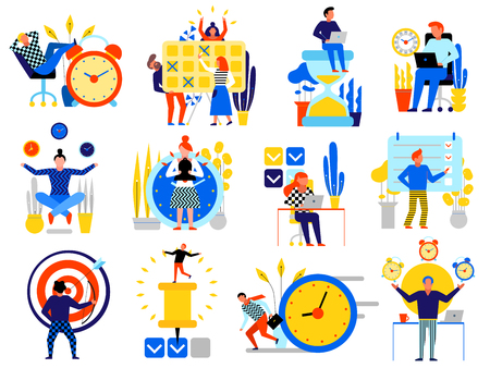 Time management icons set with planning schedule symbols flat isolated vector illustration Stock Illustratie