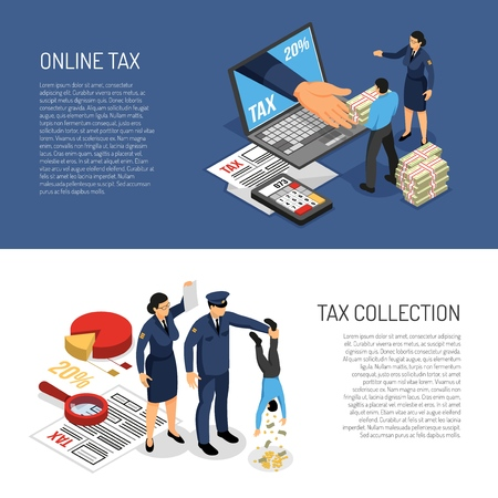 Online income tax declaration and inspectors symbolic collecting cash from individual 2 horizontal isometric banners vector illustration Banque d'images - 114244884