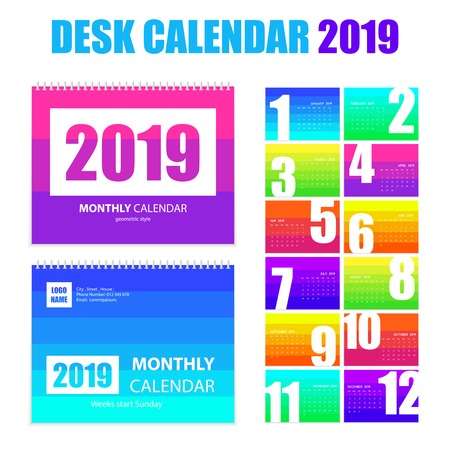Monthly desk calendar 2019 printable  templates in bright rainbow colors pages realistic images set isolated vector illustration