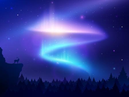 Realistyczne tło z zorzą polarną w nocnym niebie nad ilustracją wektora lasu i góry