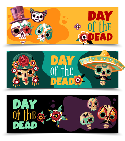 Dead day celebration 3 colorful background horizontal banners set with funny ornamented sculls masks isolated vector illustration Stock Vector - 114244907