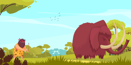 Mammoth hunt cartoon poster with primitive man holding bow and arrow following for big animal vector illustration
