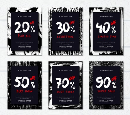 Black friday sale with big discounts vertical promotional banners set flat isolated vector illustration Stock Illustratie