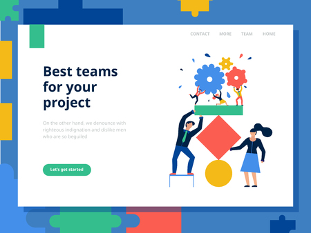 Teamwork page concept with best teams for project symbols flat vector illustration Stock Illustratie