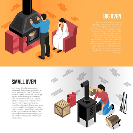 Fire places isometric horizontal banners big and small oven isolated on orange white background vector illustration