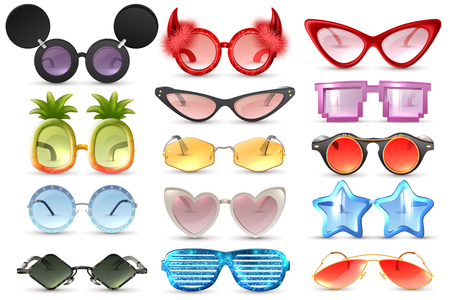 Carnival party masquerade costume glasses heart star cat eye shaped funny sunglasses realistic set isolated vector illustration Vectores