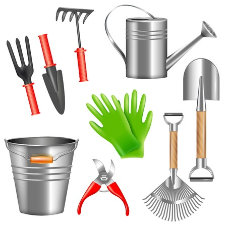 Set of realistic metal and rubber garden tools for weeding watering trimming of plants isolated vector illustration