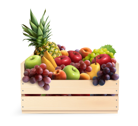 Set of exotic fruits in wooden box on white background realistic design concept vector illustration Stock Illustratie