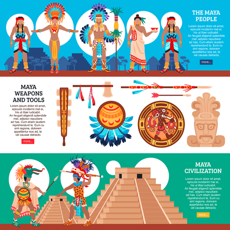 Set of three maya civilization horizontal banners with flat images of ecclesiastical canonicals totems and people vector illustration