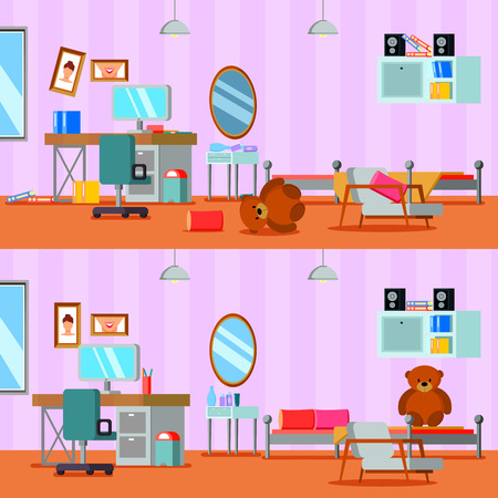 Untidy and cleaned teen room of girl in lilac orange color flat compositions isolated vector illustration Illusztráció