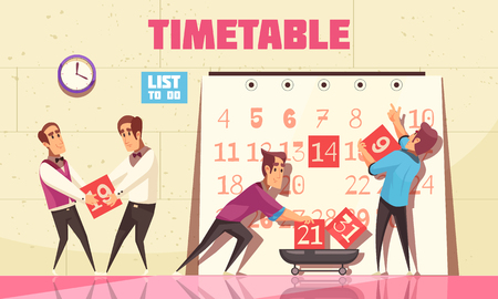 Timetable vector illustration with people attracted to time management for planning work process Illustration