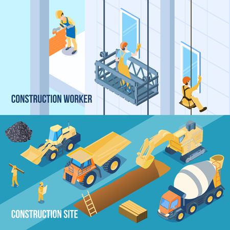Construction building site and workers isometric horizontal banners set 3d isolated vector illustration