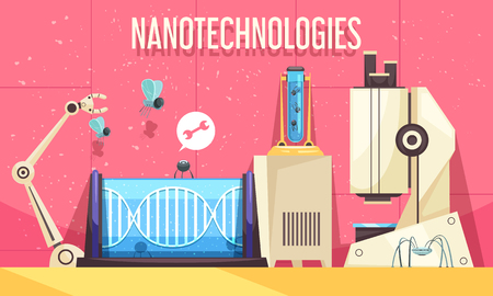 Nanotechnologies horizontal vector illustration with elements of modern devices used in genetic engineering and scientific research