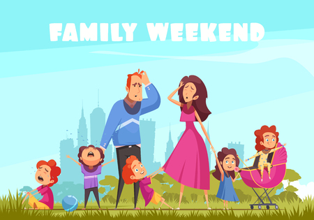 Family weekend in nature colored background with little crying kids and depressed parents flat vector illustration