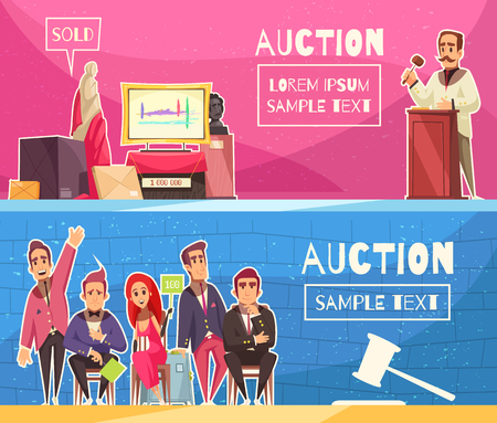 Auction set of two horizontal banners with editable text and flat doodle characters of participating people vector illustration