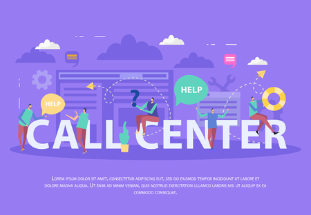 Specialists of call center speech bubbles and white typographic lettering flat composition on lilac background vector illustration