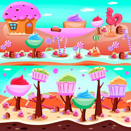 Fairy tale candy land flat compositions with sweet lake and forest from cupcakes isolated vector illustration 向量圖像