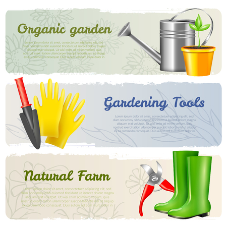 Set of three realistic garden tool horizontal banners with editable text and images of gardening equipment vector illustration Illustration