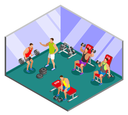 Men during weight lifting training in gym with mirror walls isometric composition vector illustration