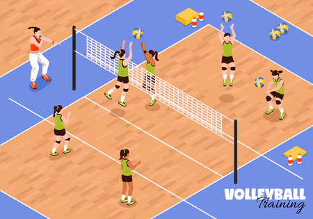 Isometric school sport kids team volleyball background with view of young female athletes during sports match vector illustration