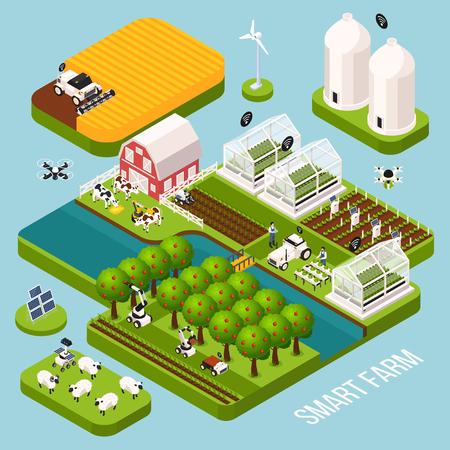 Conjunto isométrico de granja inteligente con ilustración de vector aislado isométrico de símbolos de agricultura