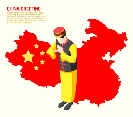 Isometric background with man from china greeting someone 3d vector illustration