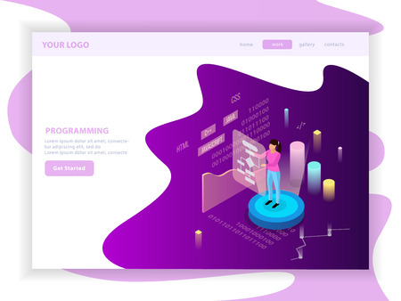 Freelance programming isometric landing page design composition with editable text and infographic images  with charts vector illustration Illustration