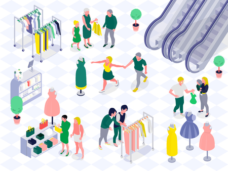 Family couples with kids during shopping in clothing and cosmetics department of mall horizontal isometric vector illustration Ilustração