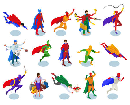 Super heroes with colored cape and mask in various activity isometric people isolated vector illustration 矢量图像