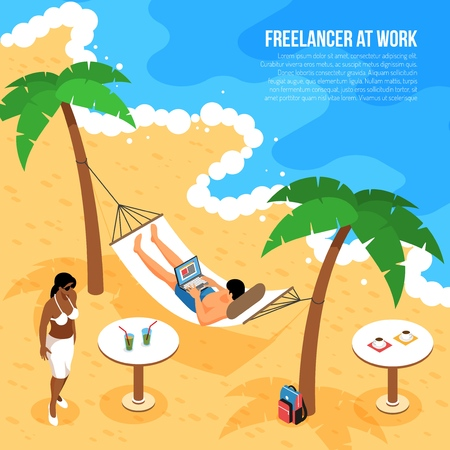 Remote work isometric composition with freelancer at tropical beach in hammock with notebook at work vector illustration