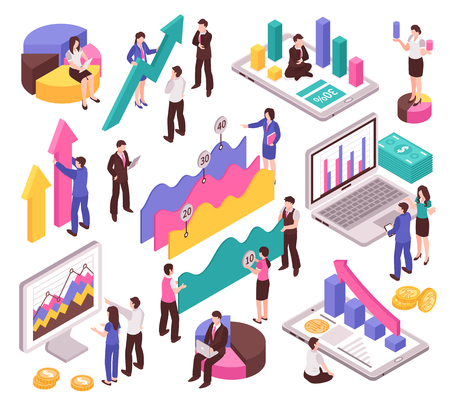 Business analyst set with diagrams and charts isometric isolated vector illustration