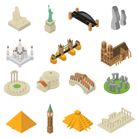 World most famous landmarks isometric icons collection with egyptian pyramids and american liberty statue isolated vector illustration