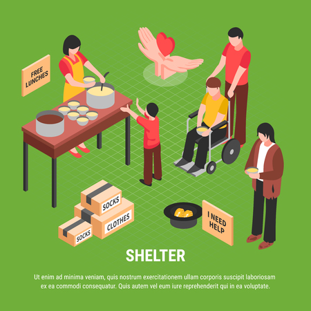 Shelter isometric poster with begging homeless man boxes with clothes and people caring for disabled person vector illustration Illustration