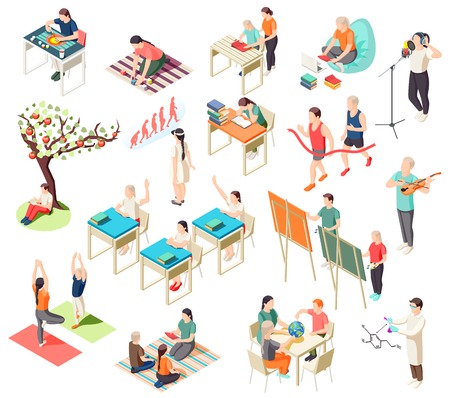 Alternative education isometric icons collection with isolated images of deschooling situations with human characters of pupils vector illustration