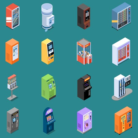 Set of isometric icons with various vending machines on turquoise background isolated vector illustration Illustration