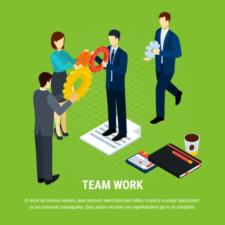 Business people isometric background with human characters of office workers holding gear icons with editable text vector illustration