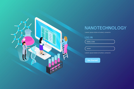 Nano technology isometric composition for web page with user account on blue gradient background vector illustration Иллюстрация