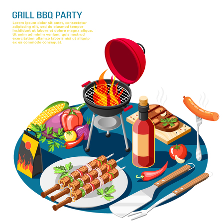 Grill bbq party isometric background composition with editable text description and tabletop set with barbeque food vector illustration