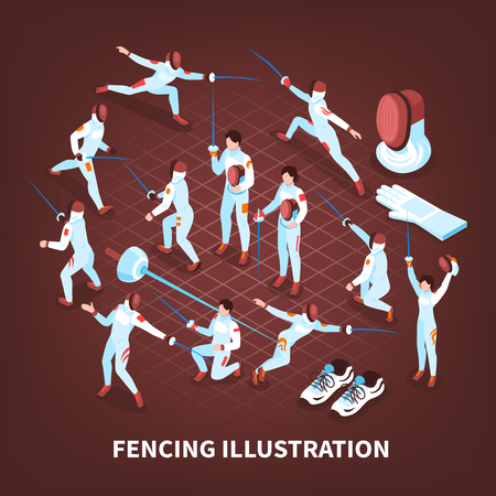 Isometric fencing background with set of isolated human characters of swordsmen and pieces of epeeist equipment vector illustration