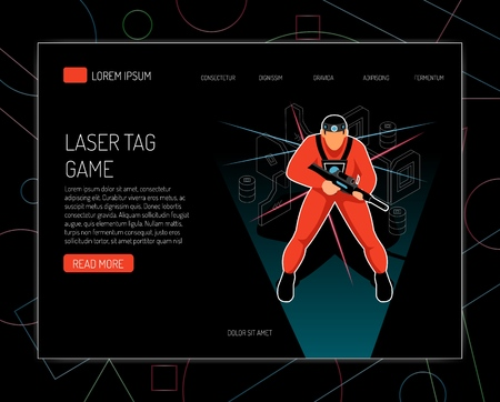 Laser tag game concept rules equipment  offers isometric design with player holding gun black background vector illustration