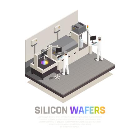 Izometryczny skład tła produkcji chipów półprzewodnikowych z edytowalnym tekstem i ilustracjami wektorowymi obsługującymi zaawansowane technologicznie manipulatory robotyczne