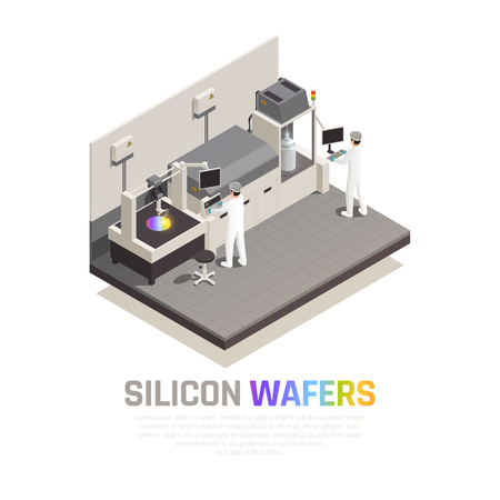 Semiconductor chip production isometric background composition with editable text and people operating hi-tech robotic manipulators vector illustration Illustration