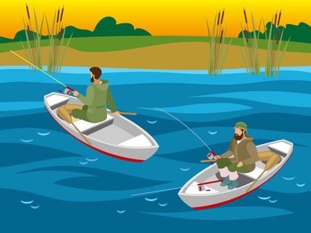 Fishers in boats with spinning rods during catching fish on river isometric vector illustration